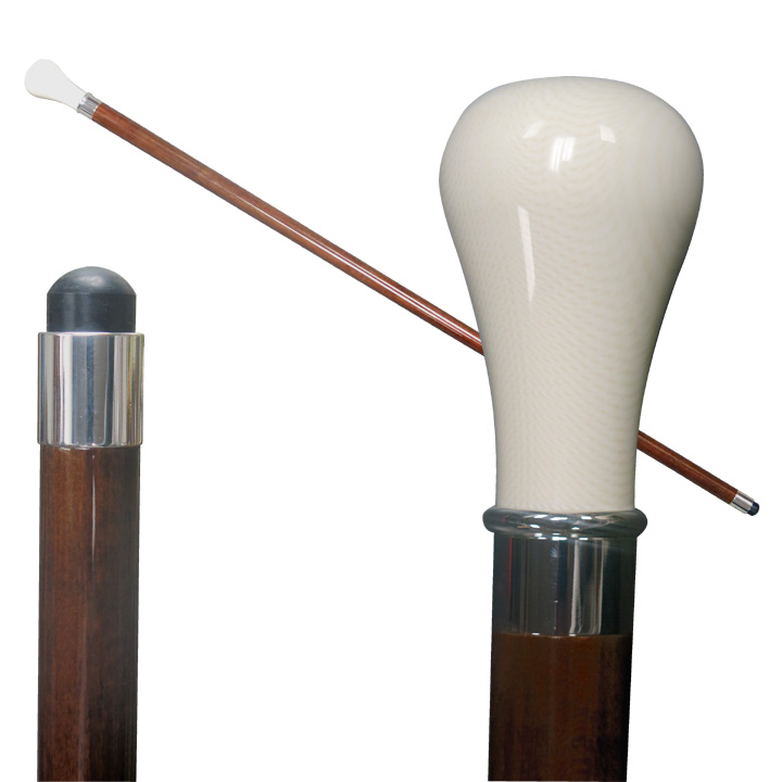 20808 Imitated Ivory Stick with Bulb Shaped Handle/Silver Ring