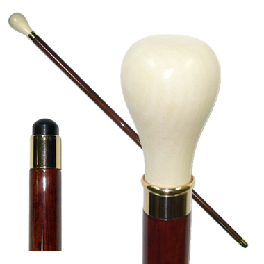 20809 Imitated Ivory Stick with Bulb Shaped Handle/Gold Ring