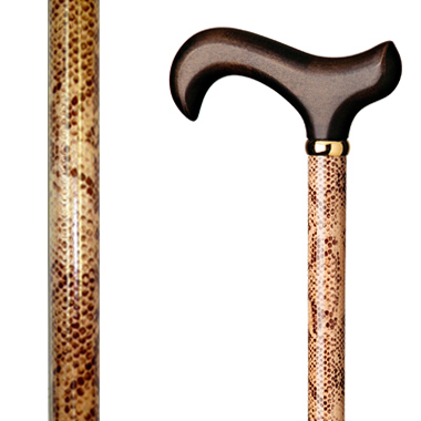 60100 Floral Wood Stick Wrapped with Snake Skin Pattern