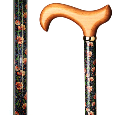 60105 Floral Wood Stick with Pink Flower Pattern
