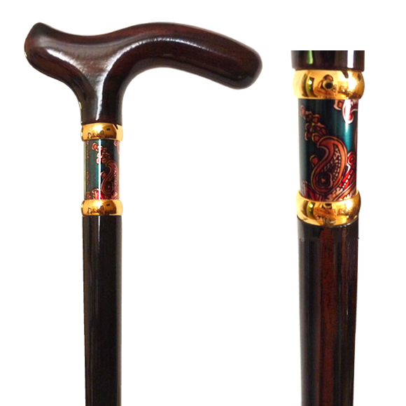 W-032 Ebony Wood Stick with Green Paisley