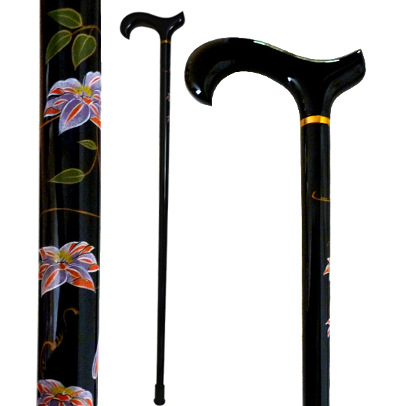 W-035 Hand Painted Clematis Florida Stick
