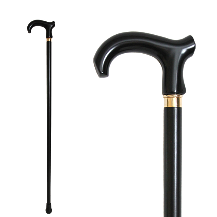 20707 Deluxe Wood Stick with Black Derby Plastic Handle/Copper R