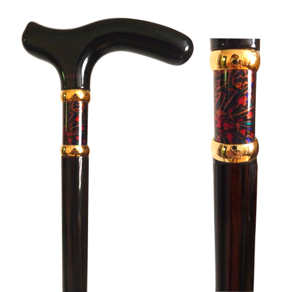 W-031 Ebony Wood Stick with Burgundy Paisley